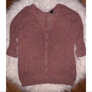 Torrid crochet dusty rose cardigan